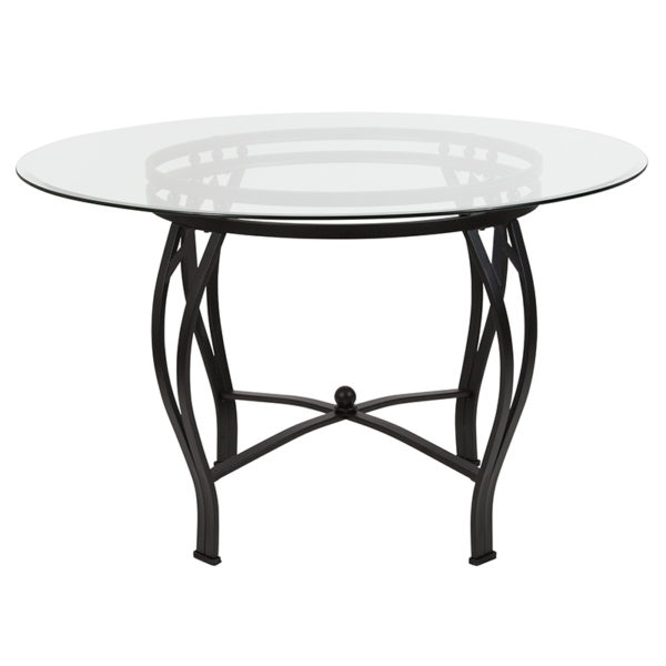 Lowest Price Syracuse 48'' Round Glass Dining Table with Black Metal Frame