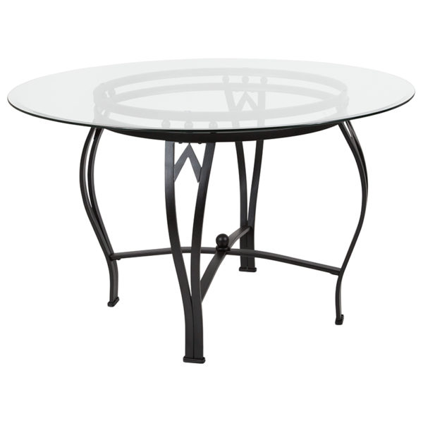 Wholesale Syracuse 48'' Round Glass Dining Table with Black Metal Frame