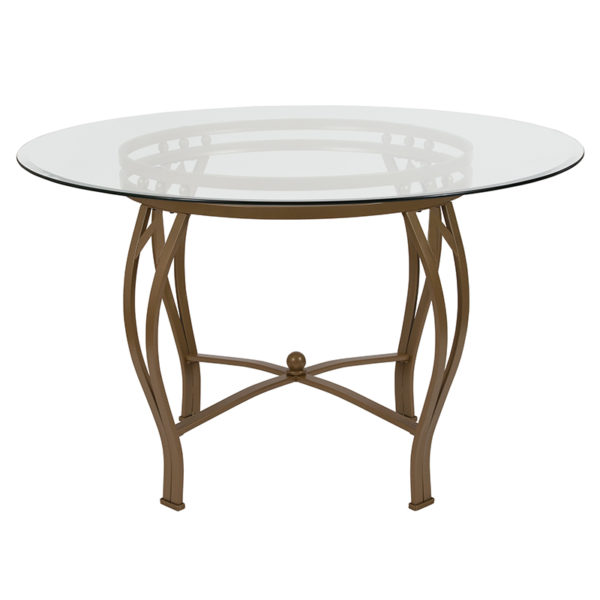 Lowest Price Syracuse 48'' Round Glass Dining Table with Matte Gold Metal Frame