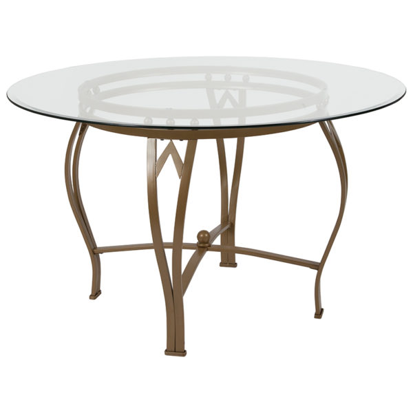 Wholesale Syracuse 48'' Round Glass Dining Table with Matte Gold Metal Frame