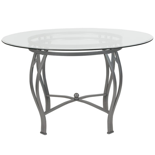 Lowest Price Syracuse 48'' Round Glass Dining Table with Silver Metal Frame