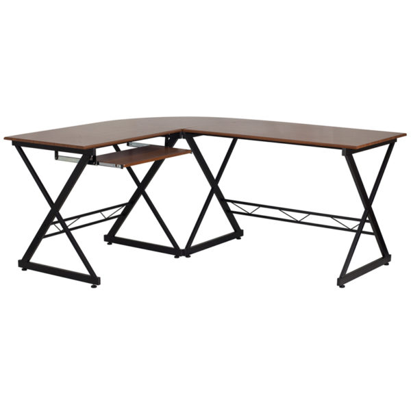 Lowest Price Teakwood Laminate L-Shape Computer Desk with Pull-Out Keyboard Tray