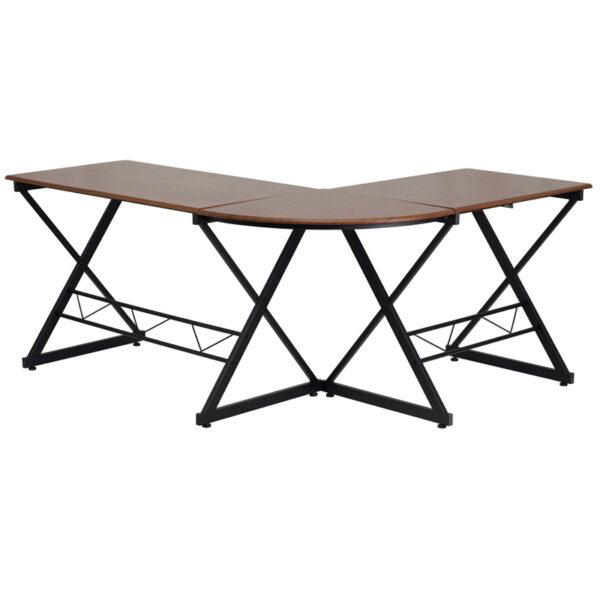 Contemporary Style Teakwood L-Shape Keyboard Desk