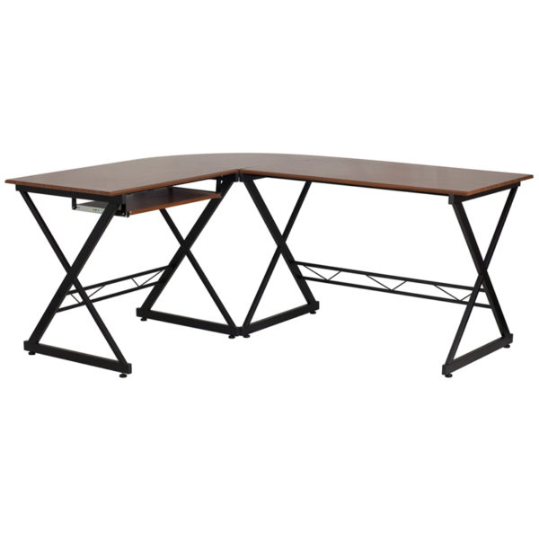 Wholesale Teakwood Laminate L-Shape Computer Desk with Pull-Out Keyboard Tray