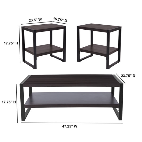 Lowest Price Thompson Collection 3 Piece Coffee and End Table Set with Raised Shelves in Charcoal Wood Grain Finish