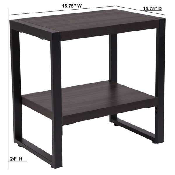 Lowest Price Thompson Collection Charcoal Wood Grain Finish End Table with Black Metal Frame