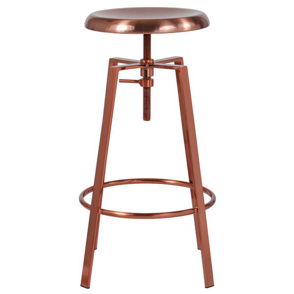 Lowest Price Toledo Industrial Style Barstool with Swivel Lift Adjustable Height Seat in Rose Gold Finish