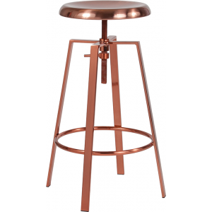 Wholesale Toledo Industrial Style Barstool with Swivel Lift Adjustable Height Seat in Rose Gold Finish