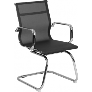 Wholesale Transparent Black Mesh Side Reception Chair with Chrome Sled Base