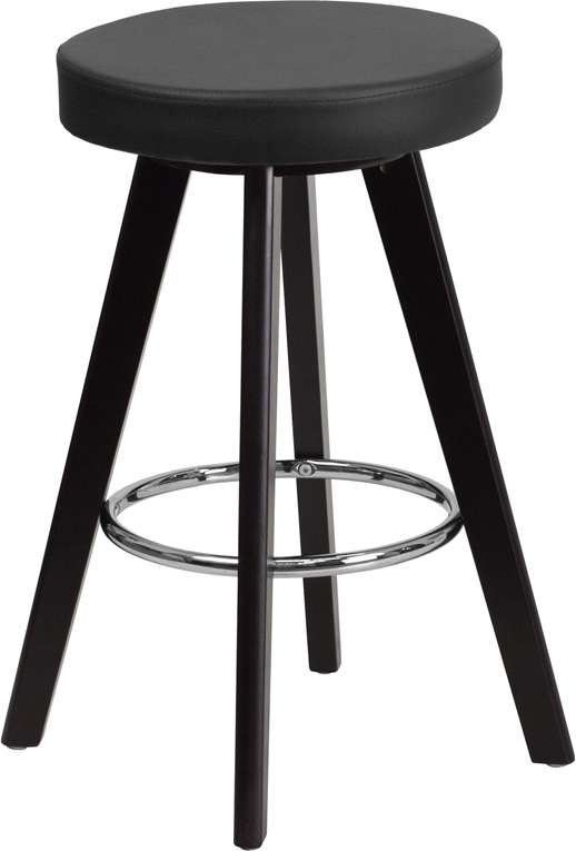 Wholesale Trenton Series 24'' High Contemporary Cappuccino Wood Counter Height Stool with Black Vinyl Seat
