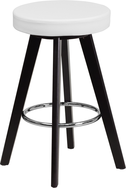 Wholesale Trenton Series 24'' High Contemporary Cappuccino Wood Counter Height Stool with White Vinyl Seat
