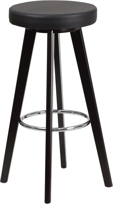 Wholesale Trenton Series 29'' High Contemporary Cappuccino Wood Barstool with Black Vinyl Seat