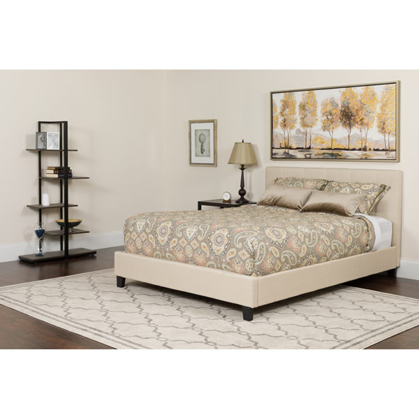 Wholesale Tribeca Full Size Tufted Upholstered Platform Bed in Beige Fabric with Pocket Spring Mattress