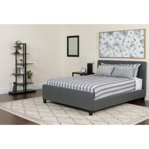 Wholesale Tribeca Full Size Tufted Upholstered Platform Bed in Dark Gray Fabric