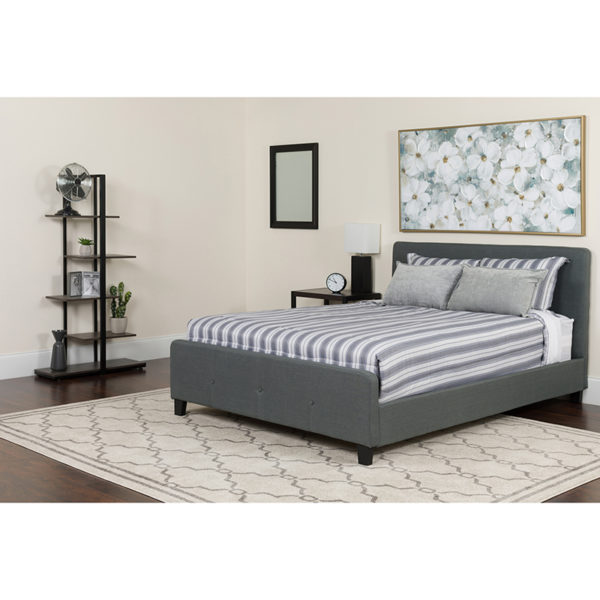 Wholesale Tribeca Full Size Tufted Upholstered Platform Bed in Dark Gray Fabric with Memory Foam Mattress