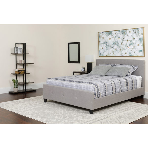 Wholesale Tribeca Full Size Tufted Upholstered Platform Bed in Light Gray Fabric with Memory Foam Mattress