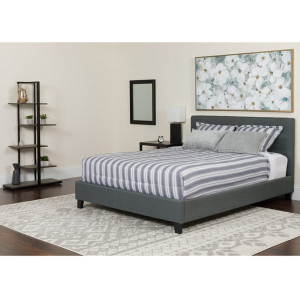 Wholesale Tribeca King Size Tufted Upholstered Platform Bed in Dark Gray Fabric with Memory Foam Mattress