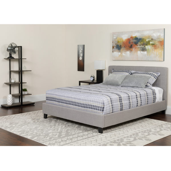 Wholesale Tribeca King Size Tufted Upholstered Platform Bed in Light Gray Fabric with Memory Foam Mattress