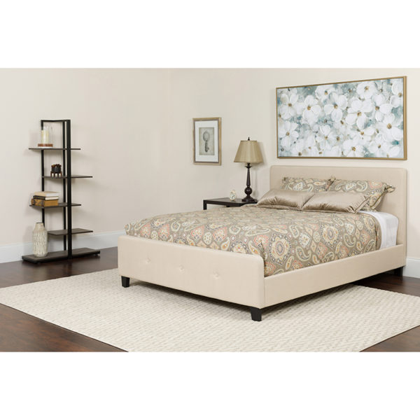 Wholesale Tribeca Queen Size Tufted Upholstered Platform Bed in Beige Fabric with Pocket Spring Mattress