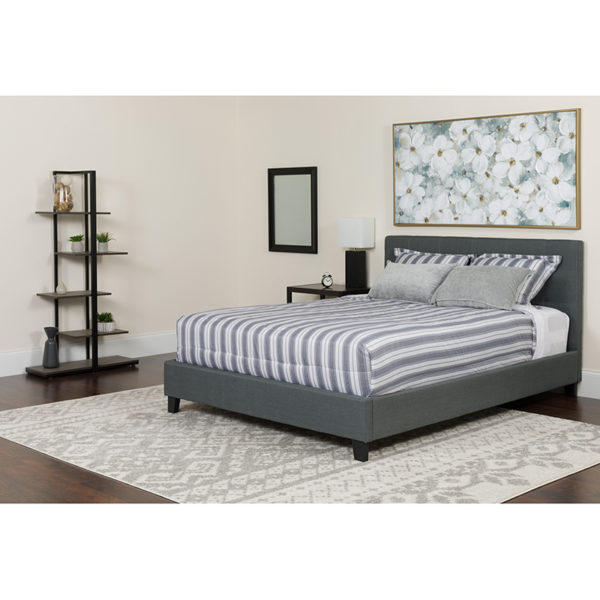 Wholesale Tribeca Queen Size Tufted Upholstered Platform Bed in Dark Gray Fabric with Memory Foam Mattress