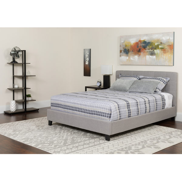 Wholesale Tribeca Queen Size Tufted Upholstered Platform Bed in Light Gray Fabric with Memory Foam Mattress