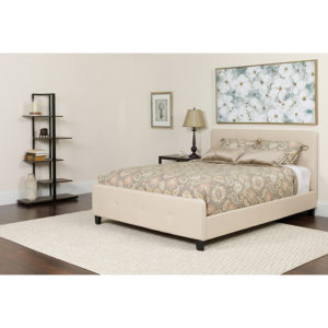 Wholesale Tribeca Twin Size Tufted Upholstered Platform Bed in Beige Fabric