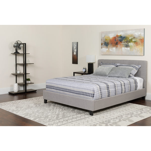 Wholesale Tribeca Twin Size Tufted Upholstered Platform Bed in Light Gray Fabric with Memory Foam Mattress