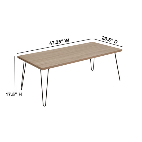 Lowest Price Union Square Collection Sonoma Oak Wood Grain Finish Coffee Table with Black Metal Legs