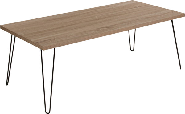 Wholesale Union Square Collection Sonoma Oak Wood Grain Finish Coffee Table with Black Metal Legs
