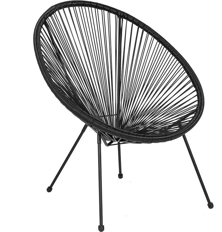 Wholesale Valencia Oval Comfort Series Take Ten Black Rattan Lounge Chair