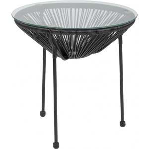 Wholesale Valencia Oval Comfort Series Take Ten Black Rattan Table with Glass Top