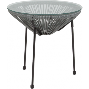 Wholesale Valencia Oval Comfort Series Take Ten Grey Rattan Table with Glass Top