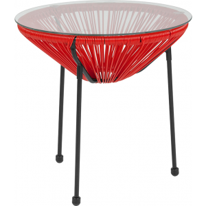 Wholesale Valencia Oval Comfort Series Take Ten Red Rattan Table with Glass Top