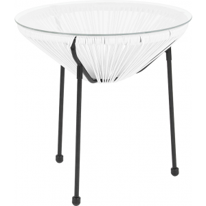 Wholesale Valencia Oval Comfort Series Take Ten White Rattan Table with Glass Top