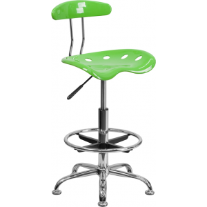 Wholesale Vibrant Apple Green and Chrome Drafting Stool with Tractor Seat