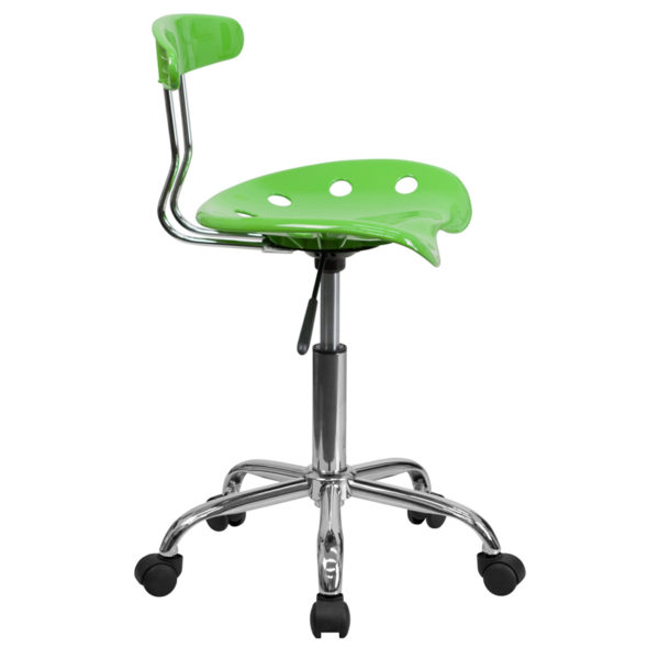 Lowest Price Vibrant Apple Green and Chrome Swivel Task Office Chair with Tractor Seat