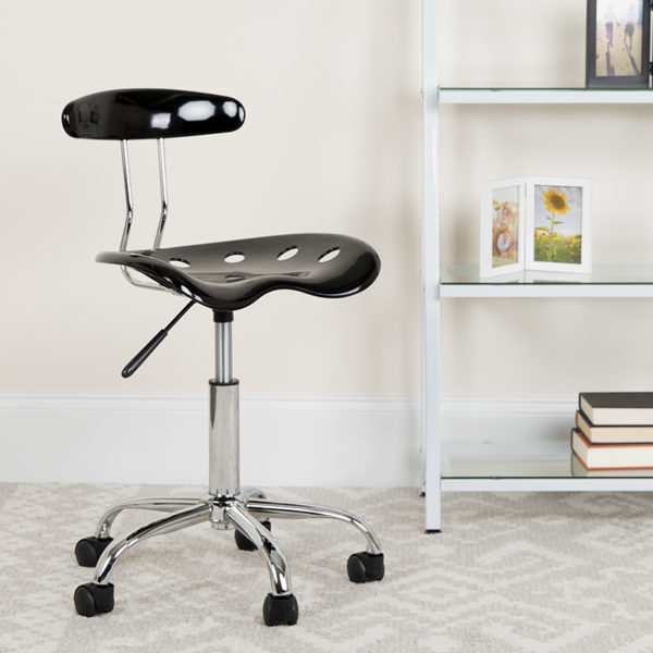 Lowest Price Vibrant Black and Chrome Swivel Task Office Chair with Tractor Seat