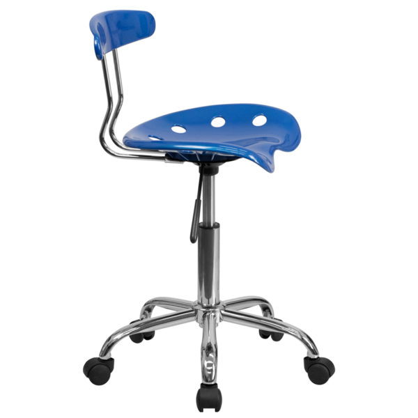 Lowest Price Vibrant Bright Blue and Chrome Swivel Task Office Chair with Tractor Seat