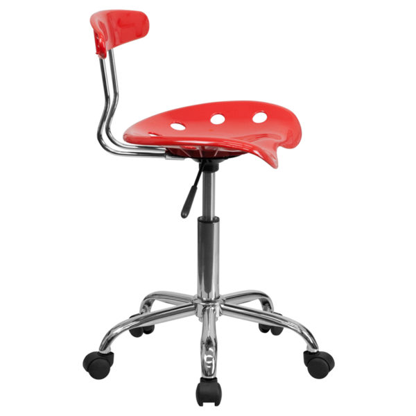 Lowest Price Vibrant Cherry Tomato and Chrome Swivel Task Office Chair with Tractor Seat
