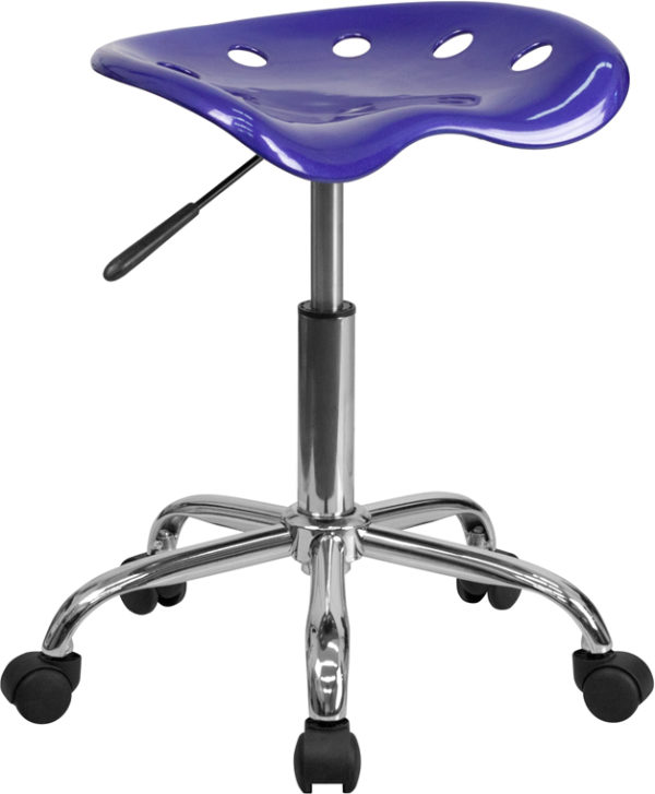 Wholesale Vibrant Deep Blue Tractor Seat and Chrome Stool