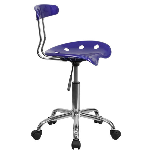 Lowest Price Vibrant Deep Blue and Chrome Swivel Task Office Chair with Tractor Seat