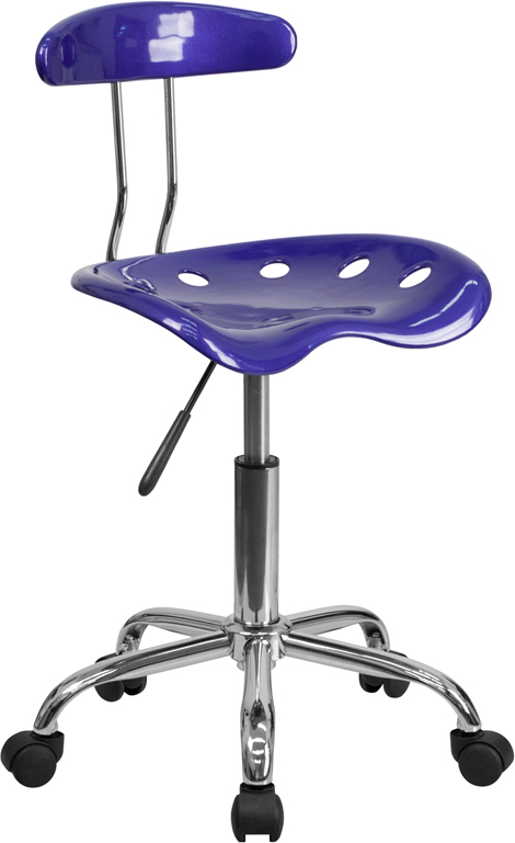 Wholesale Vibrant Deep Blue and Chrome Swivel Task Office Chair with Tractor Seat