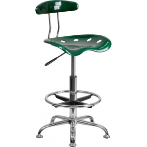 Wholesale Vibrant Green and Chrome Drafting Stool with Tractor Seat