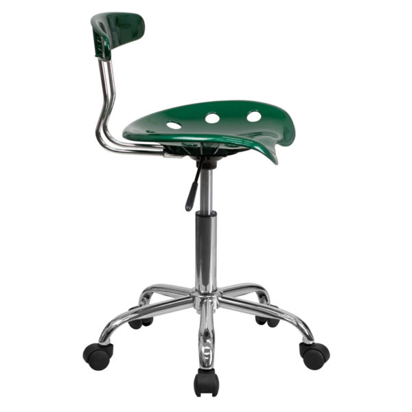 Lowest Price Vibrant Green and Chrome Swivel Task Office Chair with Tractor Seat