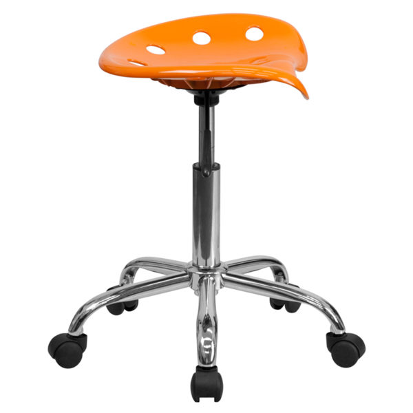 Lowest Price Vibrant Orange Tractor Seat and Chrome Stool