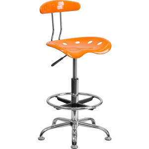 Wholesale Vibrant Orange and Chrome Drafting Stool with Tractor Seat