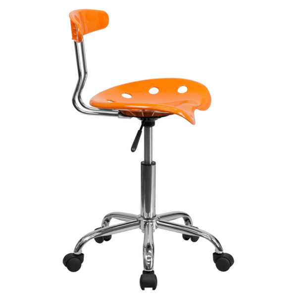 Lowest Price Vibrant Orange and Chrome Swivel Task Office Chair with Tractor Seat