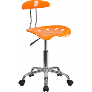 Wholesale Vibrant Orange and Chrome Swivel Task Office Chair with Tractor Seat