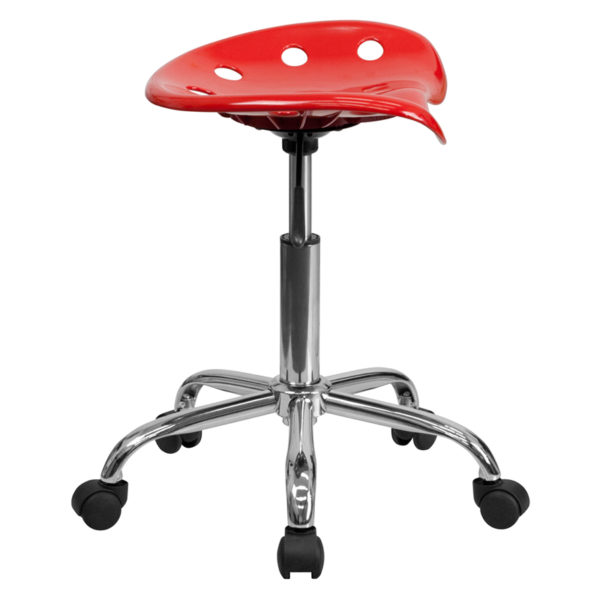 Lowest Price Vibrant Red Tractor Seat and Chrome Stool
