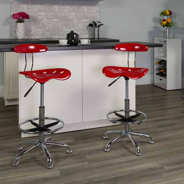 Lowest Price Vibrant Red and Chrome Drafting Stool with Tractor Seat